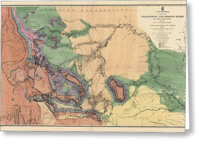Yellowstone Greeting Cards - Antique Map of the Yellowstone and Missouri Rivers by F. V. Hayden - 1869 Greeting Card by Blue Monocle