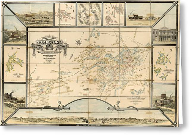 Antique Map Of Tombstone Arizona By Frank S. Ingoldsby - 1881 Greeting Card by Blue Monocle