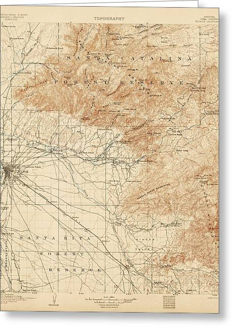 Arizona Drawings Greeting Cards - Antique Map of Tucson Arizona - USGS Topographic Map - 1905 Greeting Card by Blue Monocle