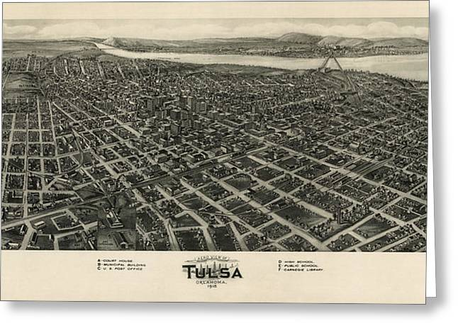 Kelly Greeting Cards - Antique Map of Tulsa Oklahoma by Fowler and Kelly - 1918 Greeting Card by Blue Monocle