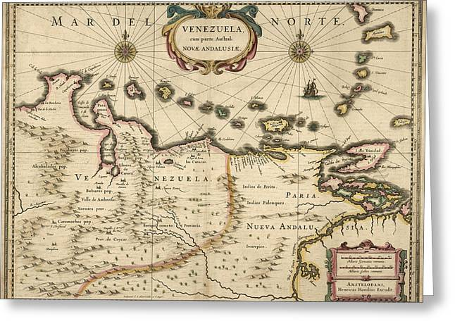 Venezuela Greeting Cards - Antique Map of Venezuela by Hendrik Hondius - 1630 Greeting Card by Blue Monocle