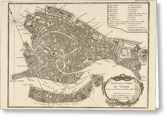 Antique Map Of Venice Italy By Jacques Nicolas Bellin - 1764 Greeting Card by Blue Monocle