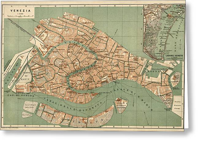 Antique Map Of Venice Italy By Wagner And Debes - Circa 1886 Greeting Card by Blue Monocle