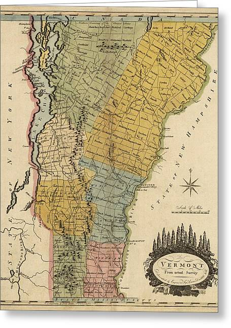 Mathew Greeting Cards - Antique Map of Vermont by Mathew Carey - 1814 Greeting Card by Blue Monocle