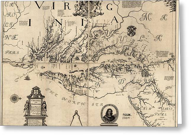Chesapeake Bay Greeting Cards - Antique Map of Virginia and Maryland by Augustine Herrman - 1673 Greeting Card by Blue Monocle