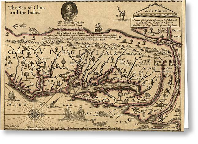 Mid-atlantic Greeting Cards - Antique Map of Virginia and Maryland by John Farrer - circa 1667 Greeting Card by Blue Monocle