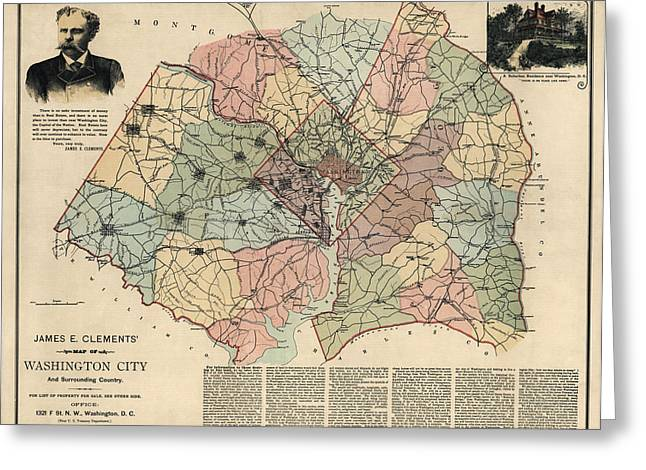 District Of Columbia Greeting Cards - Antique Map of Washington DC by Andrew B. Graham - 1891 Greeting Card by Blue Monocle