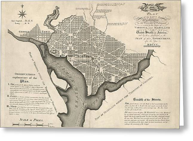Washington Dc Greeting Cards - Antique Map of Washington DC by Andrew Ellicott - 1792 Greeting Card by Blue Monocle
