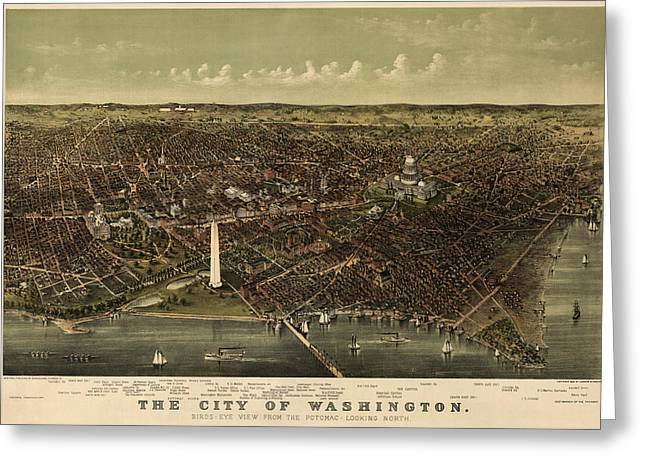 Washington Dc Greeting Cards - Antique Map of Washington DC by Currier and Ives - circa 1892 Greeting Card by Blue Monocle