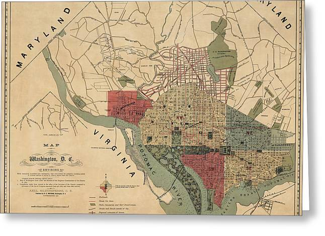 District Of Columbia Greeting Cards - Antique Map of Washington DC by R. E. Whitman - 1887 Greeting Card by Blue Monocle