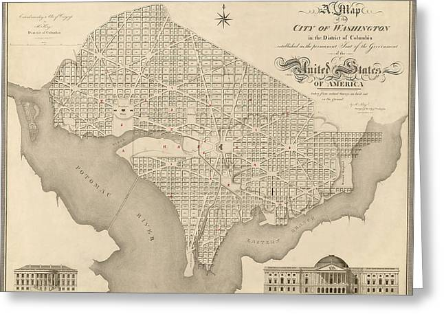 District Of Columbia Greeting Cards - Antique Map of Washington DC by Robert King - 1818 Greeting Card by Blue Monocle