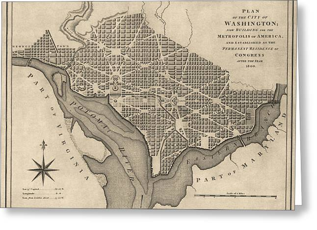 District Of Columbia Greeting Cards - Antique Map of Washington DC by William Bent - 1793 Greeting Card by Blue Monocle