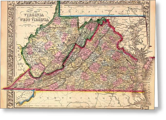 Antique Map Of West Virginia And Virginia 1864 Greeting Card by Mountain Dreams