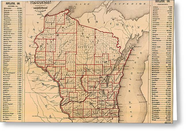 Illustrative Greeting Cards - Antique Map of Wisconsin with Populations 1866 Greeting Card by Mountain Dreams