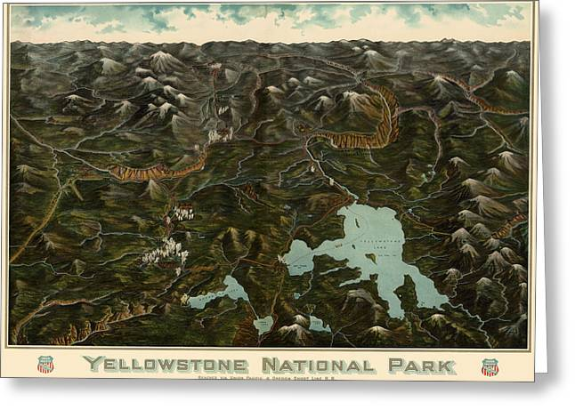 Yellowstone Greeting Cards - Antique Map of Yellowstone National Park by the Union Pacific Railroad Co. - circa 1900 Greeting Card by Blue Monocle