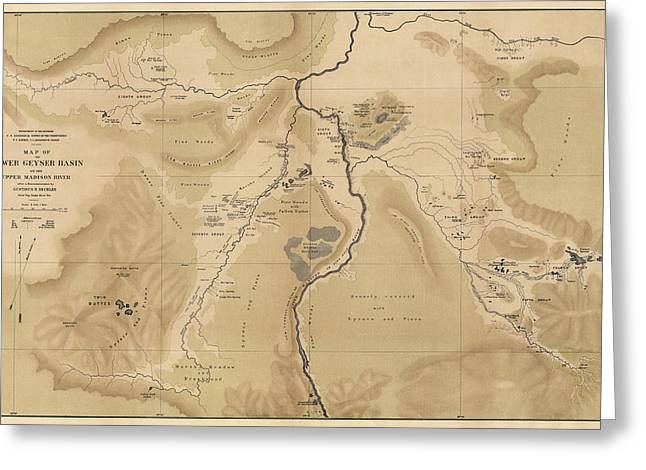 Yellowstone Greeting Cards - Antique Map of Yellowstone National Park - Lower Geyser Basin - 1872 Greeting Card by Blue Monocle