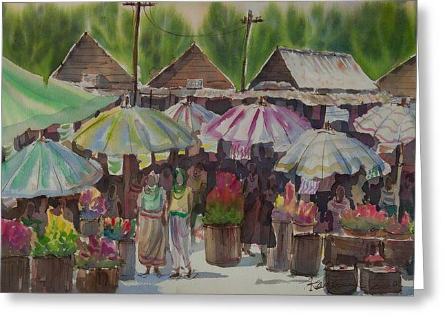 Local Food Paintings Greeting Cards - Antique Market Greeting Card by Kantawan Sukaum