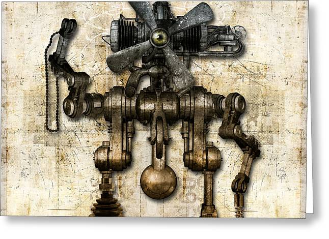 Component Mixed Media Greeting Cards - Antique mechanical figure Greeting Card by Diuno Ashlee