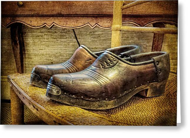 Dressing Room Greeting Cards - Antique Mens Shoes Still Life Greeting Card by Melissa Bittinger