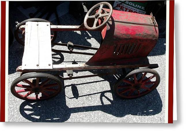 Peddle Car Greeting Cards - Antique  Metal Peddle Car  Greeting Card by Gail Matthews