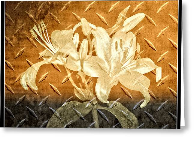 Fashion Abstraction Greeting Cards - Antique Metallic Flowers Greeting Card by Carolyn Marshall