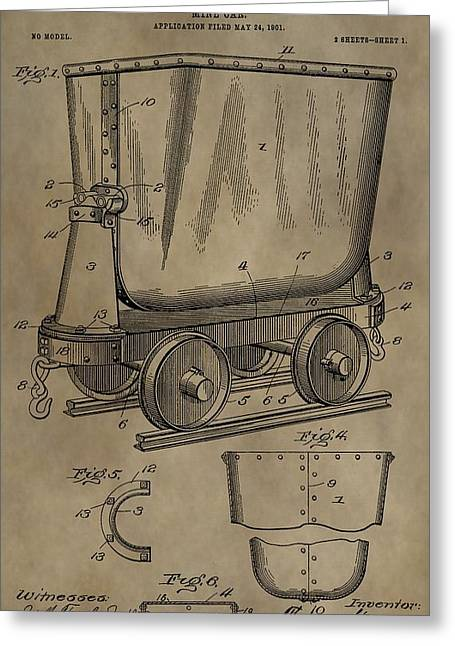 Silver Ore Greeting Cards - Antique Mining Trolley Patent Greeting Card by Dan Sproul