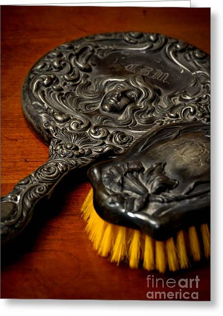 Hand Mirror Greeting Cards - Antique Mirror and Brush Greeting Card by Amy Cicconi