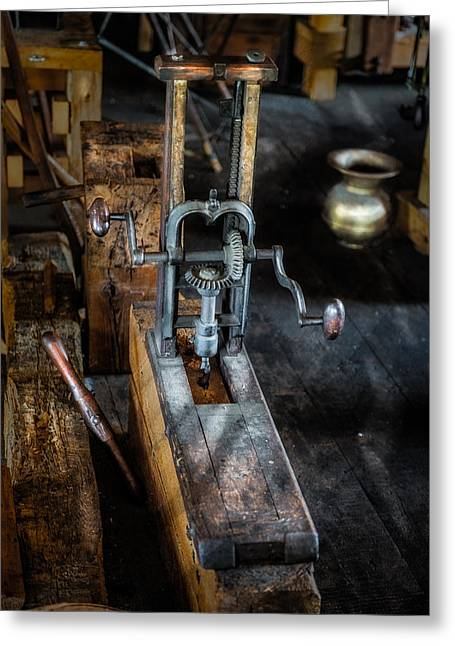 Manufacturing Greeting Cards - Antique Mortising Machine Greeting Card by Paul Freidlund