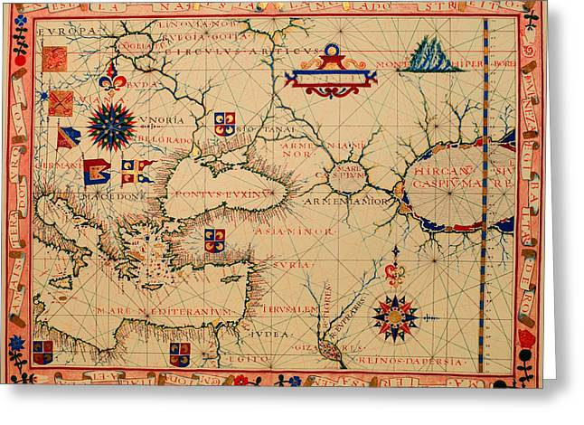 Nautical Chart Greeting Cards - Antique Nautical Chart 1570 Greeting Card by Mountain Dreams