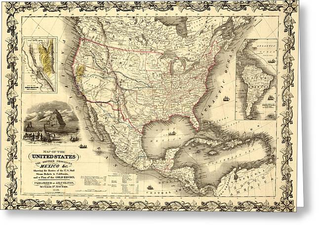 Gary Grayson Greeting Cards - Antique North America Map Greeting Card by Gary Grayson