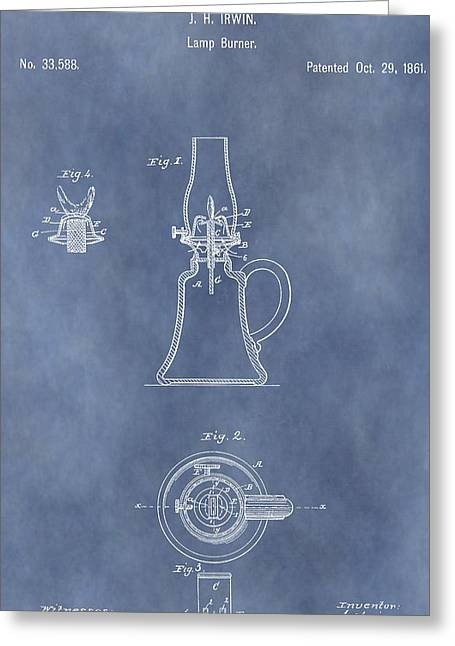 Oil Lamp Mixed Media Greeting Cards - Antique Oil Lamp Patent Greeting Card by Dan Sproul