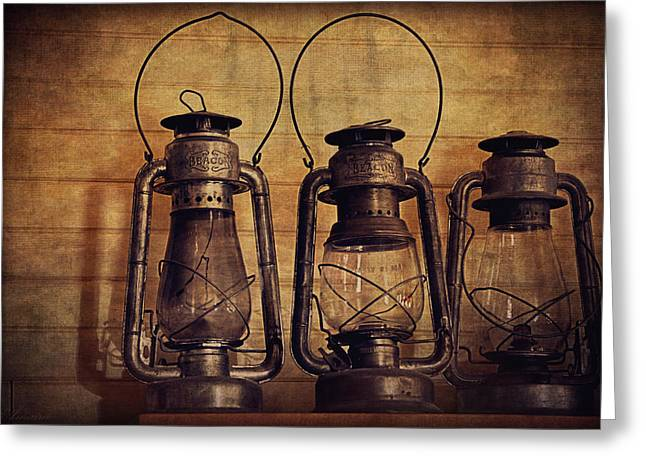 Oil Lamp Greeting Cards - Antique Oil Lamps Greeting Card by Maria Angelica Maira