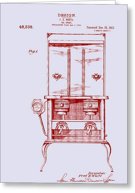 Heat Drawings Greeting Cards - Antique Oil Stove Patent 1915 Greeting Card by Mountain Dreams