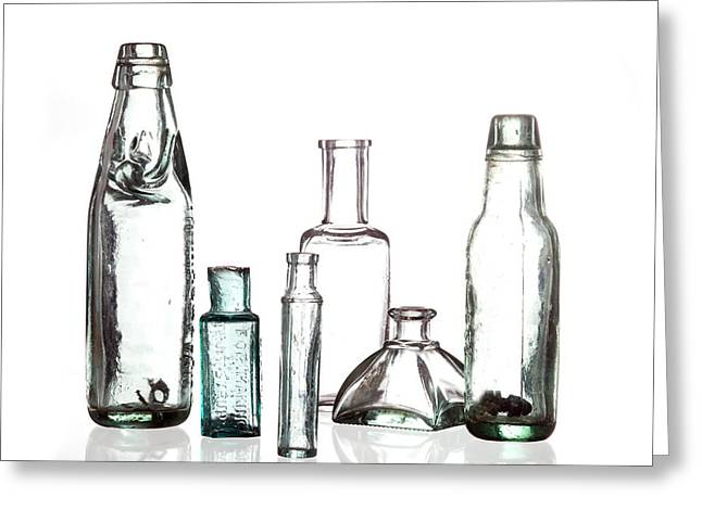 Glass Bottle Greeting Cards - Antique Old Bottles Greeting Card by Dirk Ercken