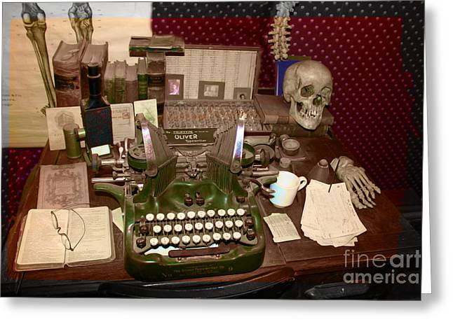 Antique Oliver Typewriter on Old West Physician Desk Greeting Card by Janice Rae Pariza