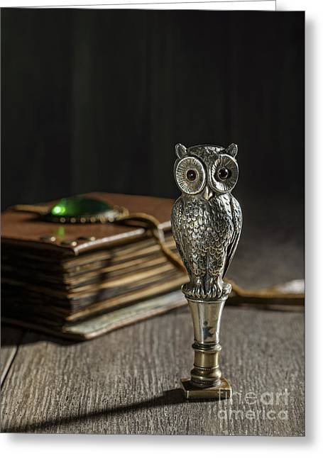 Leather Straps Greeting Cards - Antique Owl Seal Greeting Card by Amanda And Christopher Elwell