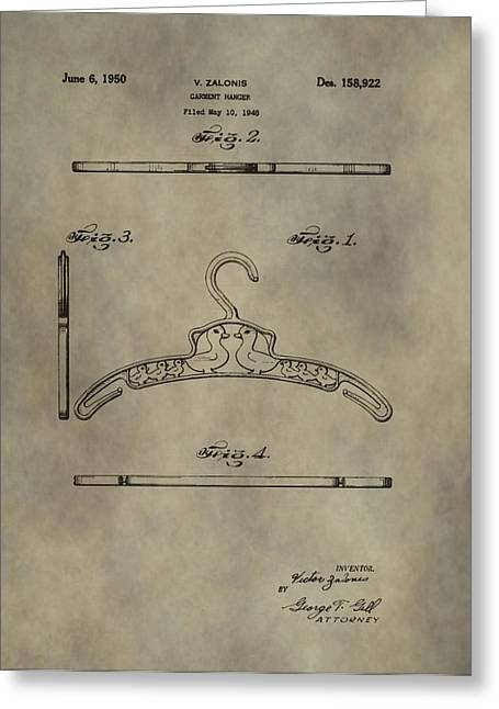 Garment Mixed Media Greeting Cards - Antique Patent Art Hanger Greeting Card by Dan Sproul