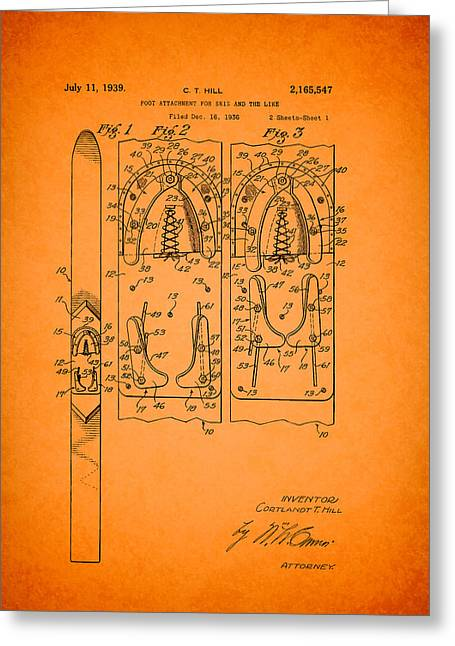 Ski Art Greeting Cards - Antique Patent for Ski Foot Attachment 1939 Greeting Card by Mountain Dreams