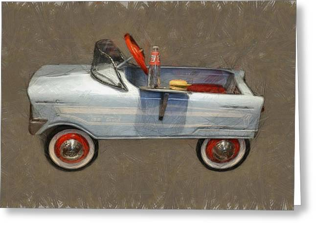 Cheeseburger Digital Greeting Cards - Antique Pedal Car lV Greeting Card by Michelle Calkins