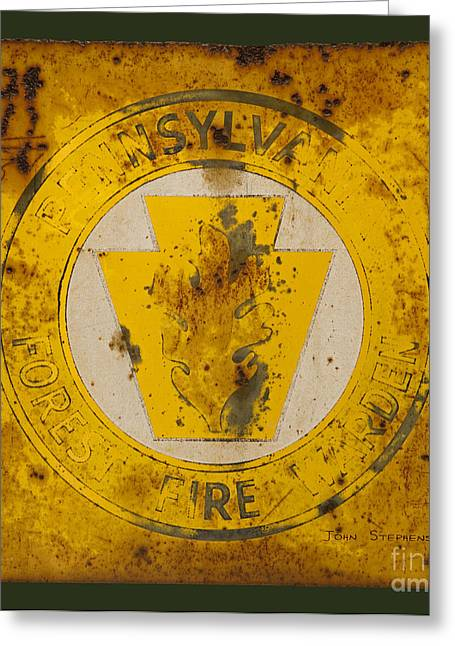 Metal Sheet Photographs Greeting Cards - Antique Metal Pennsylvania Forest Fire Warden Sign Greeting Card by John Stephens