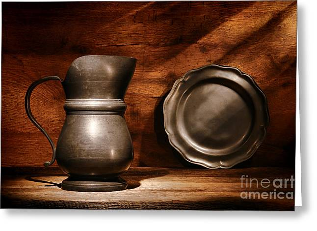 Old Pitcher Photographs Greeting Cards - Antique Pewter Pitcher and Plate Greeting Card by Olivier Le Queinec