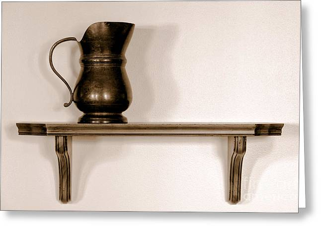 Antique Pewter Pitcher on Old Wood Shelf Greeting Card by Olivier Le Queinec
