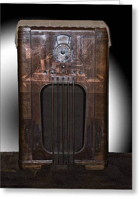 Component Digital Art Greeting Cards - Antique Philco Radio Model 37 116 Merged V Greeting Card by Thomas Woolworth