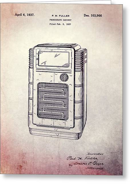 Noise . Sounds Mixed Media Greeting Cards - Antique Phonograph Cabinet Patent Greeting Card by Dan Sproul