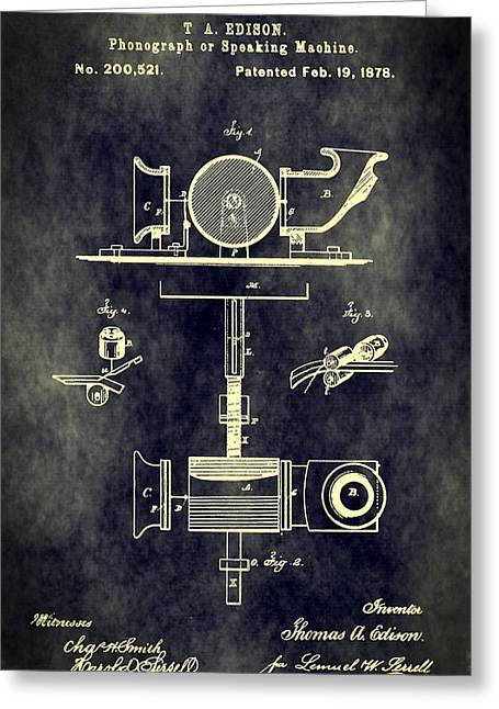 Thomas Alva Edison Greeting Cards - Antique Phonograph Patent Greeting Card by Dan Sproul