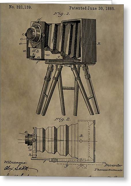 First-class Digital Art Greeting Cards - Antique Photographic Camera Patent Greeting Card by Dan Sproul
