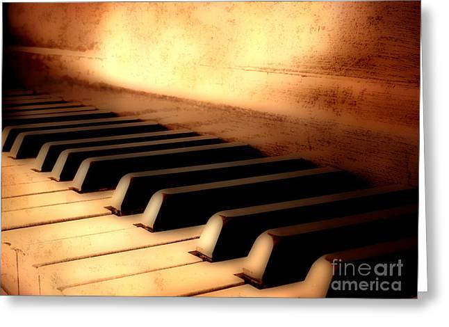 Beige Abstract Greeting Cards - Antique Piano Keys Greeting Card by Lane Erickson