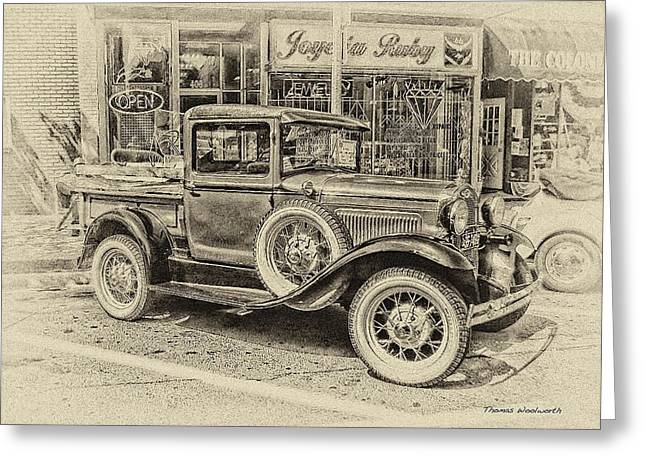 Clunker Greeting Cards - Antique PickUp Truck Greeting Card by Thomas Woolworth