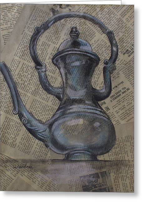 Pitcher Drawings Greeting Cards - Antique Pitcher Greeting Card by Kathy Weidner