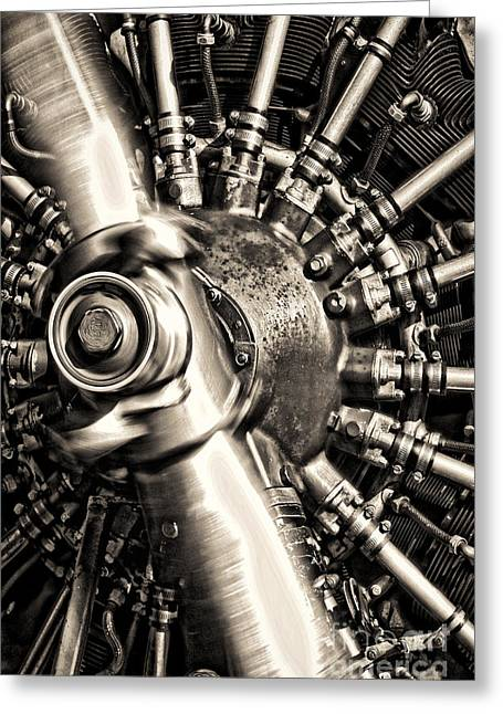 Aircraft Engine Greeting Cards - Antique Plane Engine Greeting Card by Olivier Le Queinec